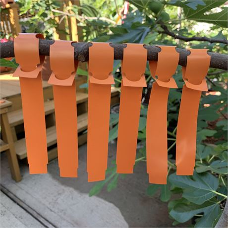 100 Orange Vinyl Wrap-Around Nursery Plant Tree Tags Hanging Labels